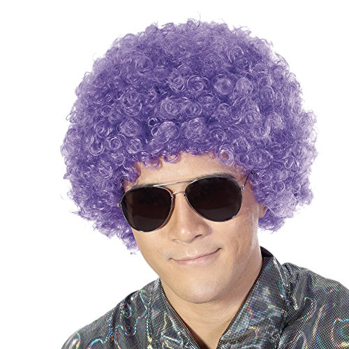 Fluffy Afro Synthetic Clown Wig for Men Women Cosplay Anime Party Christmas Halloween Fancy Funny Wigs (Purple)