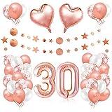 30er Cumpleaños Globos, Decoración de Cumpleaños 30 en Oro Rosa, Cumpleaños 30 Año, Feliz Cumpleaños Decoración Globos 30 Años, Decoracion Cumpleaños para Niñas y Mujeres