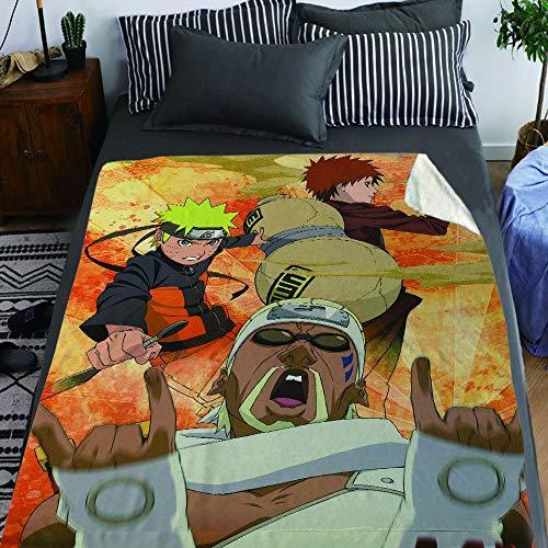 STKCST Naruto Uzumaki Naruto Gaara Manta de Anime de múltiples Caracteres Manta de Color 3D Franela de la Manta, Manta Suave, Edredón 60'X50 Ropa de Cama de Anime Multi-tamaño