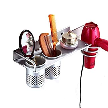 Yosoo Hair Dryer Holder Bathroom Storage Rack Aluminum Wall Mount Hair Dryer Hanging Rack Organizer with 2 Cups (C Sytle)