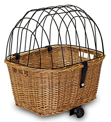 Tigana - Hundefahrradkorb für Gepäckträger aus Weide mit Gitter 44 x 34 cm Eckig Natur (N-S) ohne Kissen
