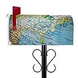 BANJADO US Mailbox | Amerikanischer Briefkasten 51x22x17cm | Letterbox Stahl weiß | mit Motiv Globus | inklusive schwarzem Ständer