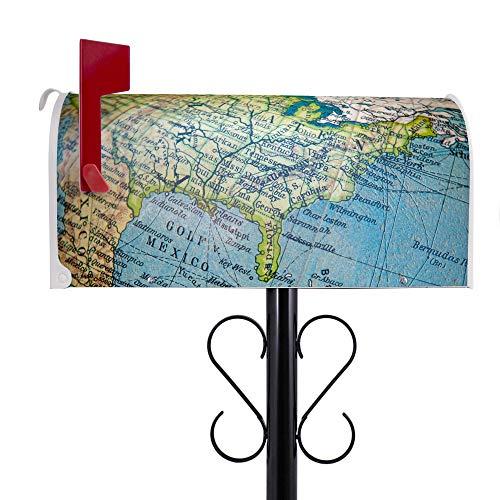 BANJADO US Mailbox   Amerikanischer Briefkasten 51x22x17cm   Letterbox Stahl weiß   mit Motiv Globus   inklusive schwarzem Ständer