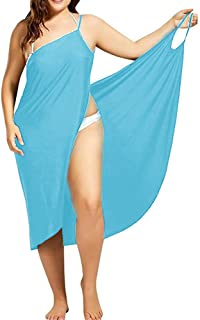Womens Plus Size Swim Cover Ups Spaghetti Strap Beach Backless Wrap Long Dress