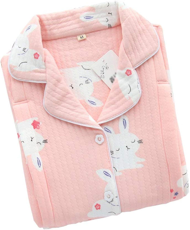 HONGNA Spring and Autumn Models Cotton Maternity Pajamas Postpartum Breastfeeding Pajamas Set Button Printing Women's Pajamas (color   Pink, Size   M)