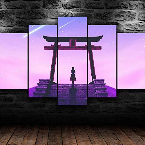KOPASD Impresión de Lienzo de Pared Arte Imagen,Puerta de Torii Japonesa asiática Pintura RomáNtica De Arte para Sala De Estar Dormitorio,100x55cm 5 Piezas