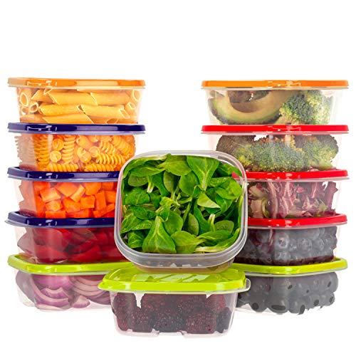 Oursson Frischhaltedosen Set aus BPA-freiem Plastik, Vorratsdosen-Sets, mit verschieden farbigen Deckeln, Lunchbox, CP6081S/MC (12x400 ml, Mehrfarbig)