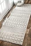 nuLOOM Moroccan Blythe Runner Rug, 2' 8' x 8', Grey/Off-white