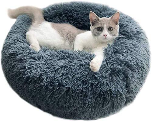 Enetos Bett Rundes Hundebetten Haustierbett katzenbett waschbar Sehr weich und bequem Ovales Doughnut Nesting Cave-Bett,geeignet für Katzen und kleine,mittelgroße Hunde(70cm Durchmesser)