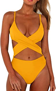 CHYRII Women's Sexy Criss Cross High Waisted Cut Out One Piece Monokini Swimsuit