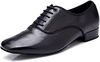 DLisiting Latin Dance Shoes Mens Ballroom Leather Modern Dancing Shoes Black