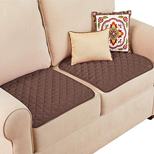 Collections Etc Quilted Waterproof Seat Protector - Set of 2 - Machine Washable, Use for Indoor or Outdoor Seating, Chocolate