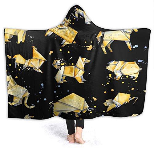 DAHALLAR Tragbar Kapuzendecke Plüsch Wickeln,Origami-Tier,Sanft Warm Vlies Decke werfen Mantel Gemütlich für Couch Bed Home Travel, 50