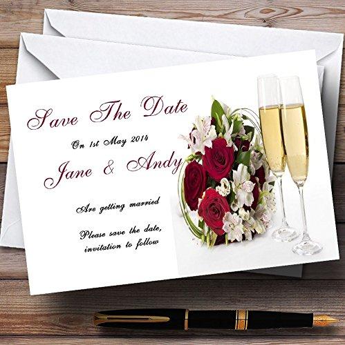 10 x Uitnodigingen Rode Rose Champagne Gepersonaliseerde Bruiloft Bewaar De Datum Kaarten