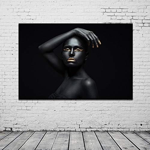 Schwarz-Gold afrikanische Frau Kunst Leinwand Malerei Porträt Poster und Drucke Skandinavische HD rahmenlose Malerei Wohnzimmer rahmenlose dekorative Malerei 60x80cm 60x80cm