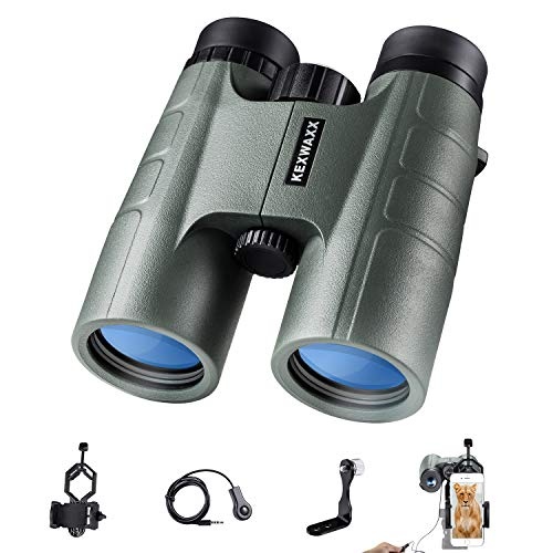KEXWAXX Fernglas 10x42, Compact HD Ferngläser für Erwachsene/Kinder, BAK4 Prisma FMC Optik, für Vogelbeobachtung Safari Jagd, mit Smartphone-Adapter, Stativ Adapter und Fernauslöser für die Kamera