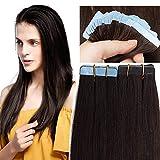SEGO Tape Extensions Echthaar 20 Stück Klebeband Haarverlängerung Haarteile 100% Remy Human Haar Dunkelbraun#2 14'(35cm)-30g