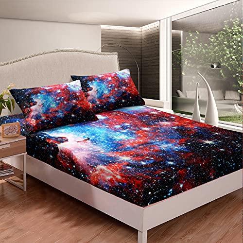 Juego de sábana bajera ajustable con bolsillo profundo, diseño de galaxia, color rojo, azul, para niños, adolescentes, dormitorio, 3 piezas (1 sábana bajera y 2 fundas de almohada), tamaño doble