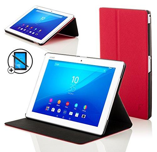 Forefront Cases Smart Hülle kompatibel für Sony Xperia Z4 10,1 Zoll Tablet-PC Hülle Schutzhülle Tasche Case Cover Stand - R&um-Geräteschutz Auto Schlaf Wach Funktion + Stift und Bildschirmschutz (ROT)