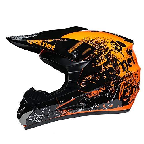 Motocross Helmet ATV Motorcycle Helmet SUV Mask + Goggles + Gloves,BMX MX Downhill Men Women Personality Trend Dirt Bike Downhill Off-Road Mountain Bike Helmet 4-Piece Set,D.O.T Certified