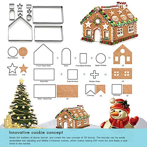 SayHia Christmas Cookie Cutters Set - Peperkoekhuis, kerstboom, hert en slee DIY Cookies vormen voor vakantie, Halloween & Kerstmis - 18-TLG. roestvrij staal.