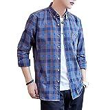 [Make 2 Be] メンズチェックシャツ 長袖 シャツ カジュアル 無地 シャツ ギンガムチェック ボタンダウン ネルシャツ アメカジ 春秋 ワイシャツ M~XL KB76 (15.Blue_4XL)