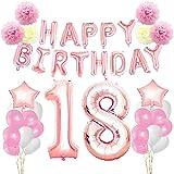 KUNGYO Rosa Oro Buon Compleanno Decorazioni Kit per 18 Anni-Rose Gold Happy Birthday Bandiera Numero Gigante 18 Stelle Palloncini Foil, Nastri, Carta Pom Fiori, Forniture per Feste per Le Donne