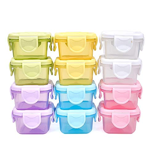 Leakproof Baby Food Storage Containers Reusable Baby Snack Jars with Lid, 12 Container Set | 2oz Snack Container, Freezer/Microwave/Dishwasher, BPA-Free Airtight Plastic Set