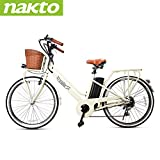 "NAKTO 250W Electric Bike 26"" Electric Bicycle 6 Speed Electric Bikes for Adults with Basket High Speed Ebike with 36V 12AH Removable Battery"