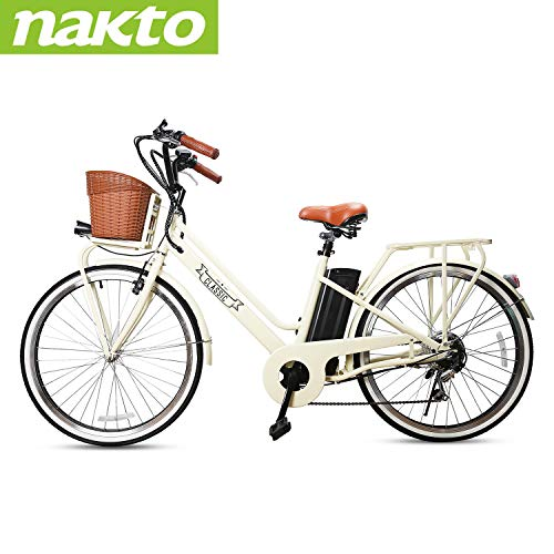 NAKTO 250W Electric Bike 26' Electric Bicycle 6 Speed Electric Bikes for Adults with Basket High Speed Ebike with 36V 12AH Removable Battery