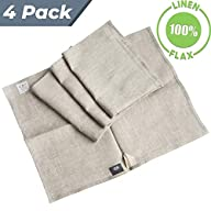 """Pure 100% Linen Flax Washcloths - 4-Pack 13.5"""" x 17.5"""" Organic Natural-White Melange Cleaning Dish Cloths Set Small Hand Towels"""