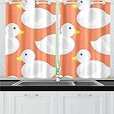 Zemivs Natación Blancanieves Pato Criatura Cortinas de Cocina Cortinas de Ventana Niveles para café Baño Lavandería Sala de Estar Dormitorio 26x39 Pulgadas 2 Piezas