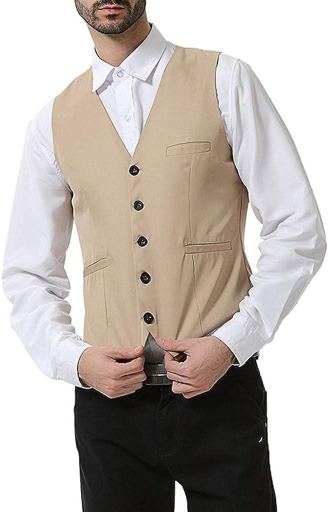 GREFER-Mens Waistcoat Vest Big and Tall Solid Single Breasted Slim Fit Suit Vest for Men Groom's Formal Vests
