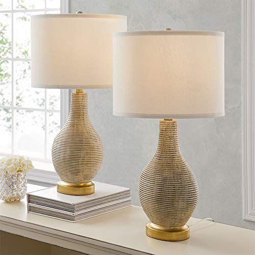 Bedside Table Lamp Set of 2 for Bedroom or Living Room, 9.5W LED Bulbs Included, 24.5' High Large...