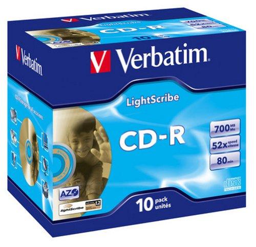 Verbatim Light Scribe CD-R 700MB 52x Speed Surface CD-Rohlinge im Jewel Case 10er Pack
