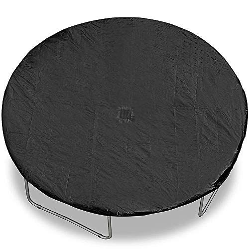 BodyRip Black 14FT Trampoline Dust Rain Cover with Mesh Drain   Thick Material, Round, Water Resistant, Weatherproof, Dust Proof, UV Light Protection, Durable Polyethylene, Universal