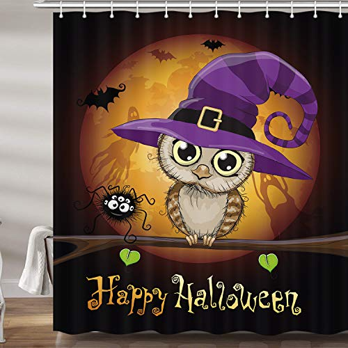 Owl with Witch Hat Under the Moon Halloween Shower Curtain