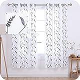 UMI Amazon Brand Cortinas Salon Translucidas de Dibujos Espiga de Trigo con Ollaos 2 Piezas 140x175cm Gris