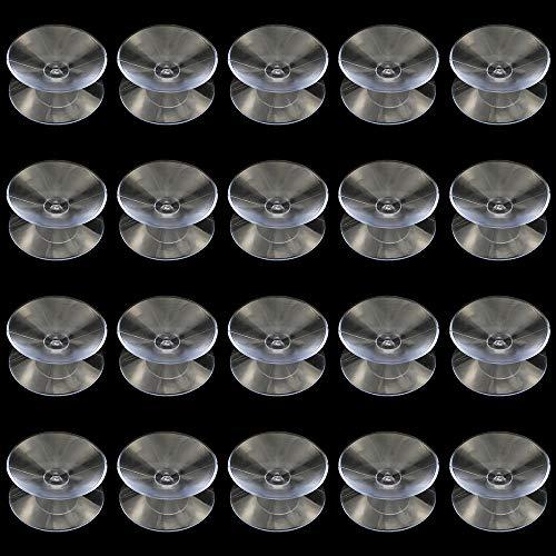 NewZC 20 Stück Doppelseitige Saugnäpfe Transparent Aquarium Saugnapf aus Kunststoff für Glas Tischplatte Fenster Dekoration - Durchmesser 30mm