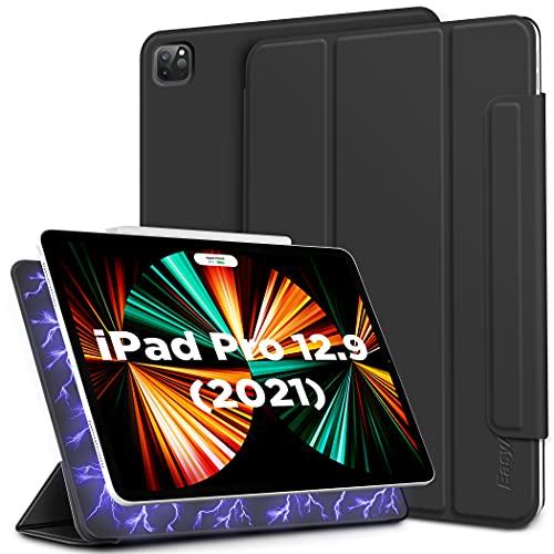 EasyAcc Custodia Cover Magnetica Compatibile con iPad PRO 12.9 2021/2020 Qiunta e Quarta 4nd e 5nd Generazione, Custodia Cover Ultra Sottile con Funzione Stand Auto Sleep/Wake Up, Nero