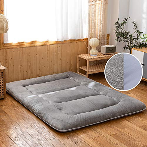 Micro Fleece Floor Mattress for Adults, Foldable Japanese Futon Mattress Tatami Floor Bed, Thick Soft Plush Tatami Mat Sleeping Pad Roll Up Mattress, Two Sides for All Year Round, Grey, Queen Size