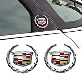 BLARYETI 3D Emblem for Cadillac, Silver Grille Wreath & Crest 3D Logo Symbol Stickers Metal Labeling for Escalade ATS SRX XTS CTS XT5 XLR,6cm, 2Pcs