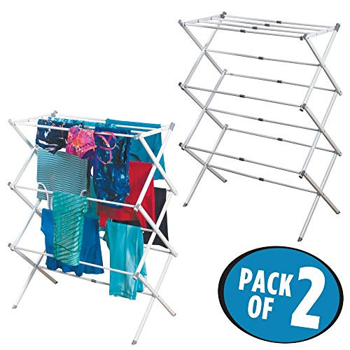 mDesign ausziehbarer Turmwäscheständer - Wäscheständer mit 3 Ebenen - platzsparender Standtrockner für Wäscheküche & Haushaltsraum - aus robustem Metall mit Kunststoffstangen - 2er Set