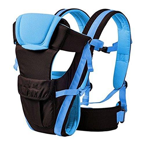 Qiorange Babytrage, Bauch-, Rücken- und Hüfttrage, 4 Tragpositionen (3-18KG, 0-30 Monate) Blau
