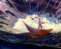 数字による絵画DIY油絵の具シルエットボートアート嵐の鳥孤独なキャンバス結婚式の装飾アート写真大人のための数字キットによるギフトペイント カスタマイズ可能 40x50cm DIYフレーム