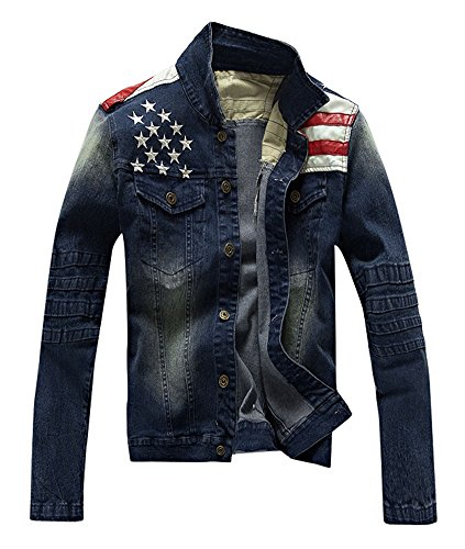 Dolpind Men's Fashion American USA Flag Denim Jean Jacket Coat XL Dark Blue