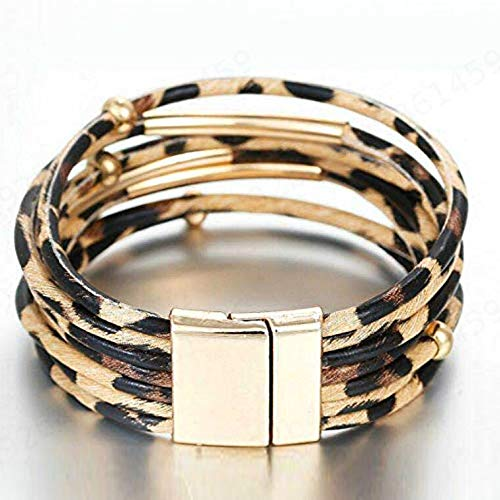 SALAKA 1PC Alloy Tube Mehrschicht Armreif Animal Leopard-Print Armband Wickelarmband
