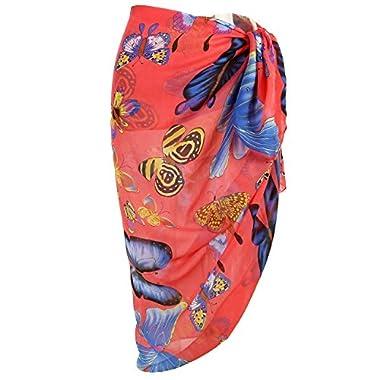 Ayliss Womens Swimwear Chiffon Printed Cover up Beach Sarong Pareo Bikini Swimsuit Wrap (One Size, 19)
