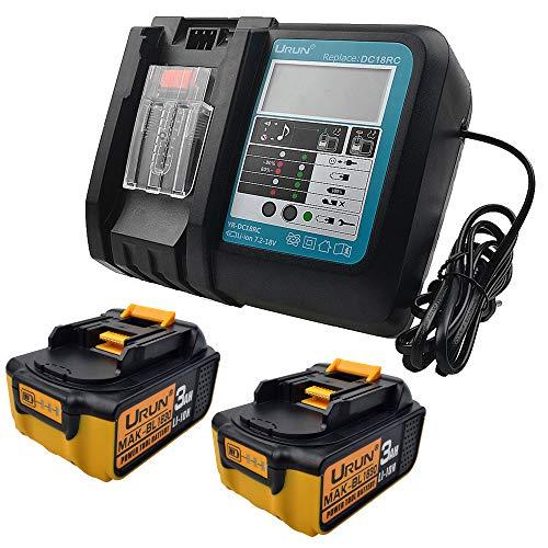 2 stuks 18V 3Ah BL1830 Li-Ion accu met 3A LCD oplader vervanging voor Makita accu-bouwplaatsradio DMR110 DMR112 DMR107 DMR108 BMR100 BMR102 DMR102 DMR102 DMR100 18V draadloze bluetooth-radio