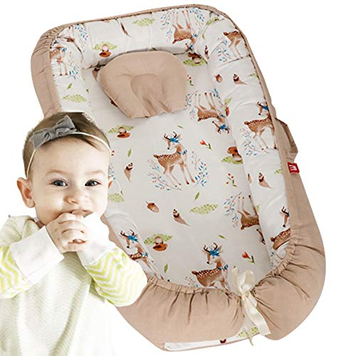 Brandream Baby Nest, Baby Lounger for Bed, Baby Cocoon, Newborn Lounger, Baby Positoner, Infant Cot,Co Sleeping, Woodland Deer
